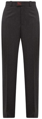 Raf Simons High-rise Virgin Wool Straight-leg Trousers - Womens - Dark Grey