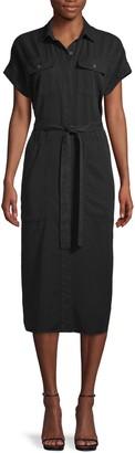 Pure Navy Self-Tie Midi Shirt Dress