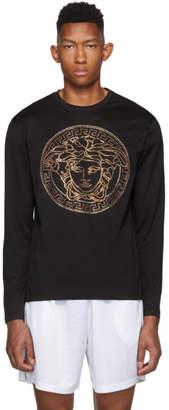 Versace Black Embellished Medusa T-Shirt