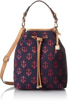 Tommy Hilfiger Womens Allover Anchor Canvas Bucket Handbag Navy Medium