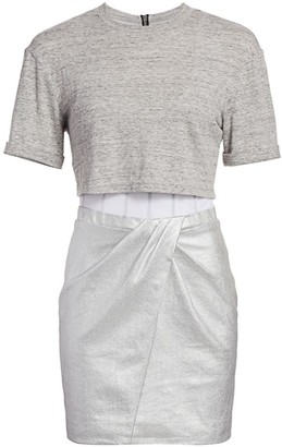 RtA Naomi Metallic Two-Piece T-Shirt Corset Combo Bodycon Dress