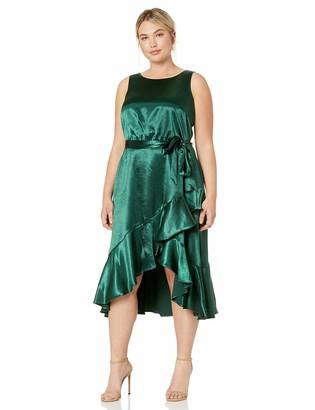 Taylor Dresses Women's Plus Size Sleeveless Satin Ruffle Hem Dress