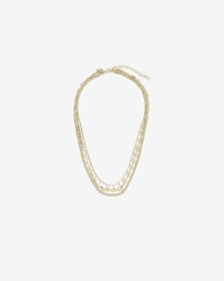 Express Hi-Lo Cubic Zirconia Disc Bar Drop Necklace
