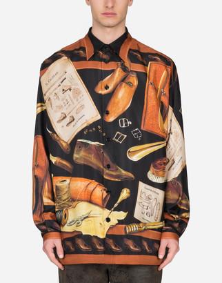 Dolce & Gabbana Cobbler-Print Silk Hawaiian Shirt