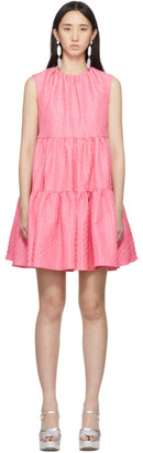 MSGM Pink Ruffle A-Line Dress
