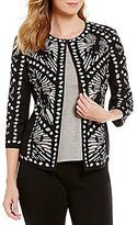 Ming Wang Jewel Neck 3/4 Sleeve Hook Front Patterned Jacket
