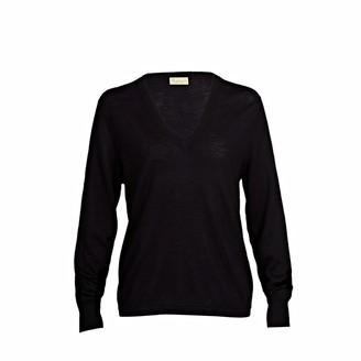 Asneh Mathilda Black Cashmere V Neck Sweater In Fine Knit