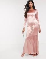 Bariano slinky sheen long sleeve maxi dress in rose gold