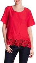 Sugar Lips Sugarlips Lois Crochet Trim Short Sleeve Shirt