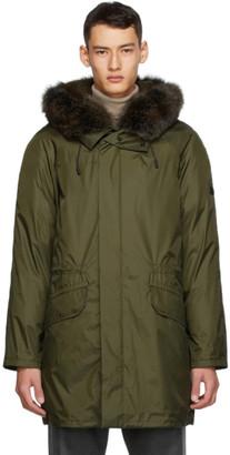 Yves Salomon Army Khaki Down and Fur Technical Parka