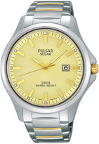 Pulsar Business Mens Two-Tone Stainless Steel Solar Watch PX3075