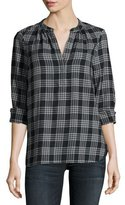 Joie Hesta Plaid Cotton Shirt, Black Pattern