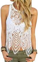 KOINECO Women's Unlined Lace Cut Out Crop Tank Tops X-Large