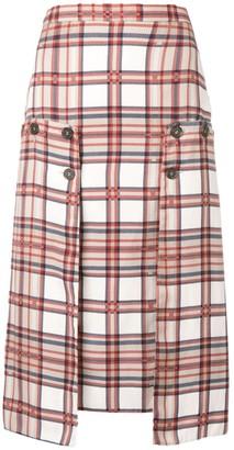 Rokh Plaid Print Pencil Skirt