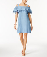 Thalia Sodi Chambray Tassel Ruffle Shift Dress, Only at Macy's