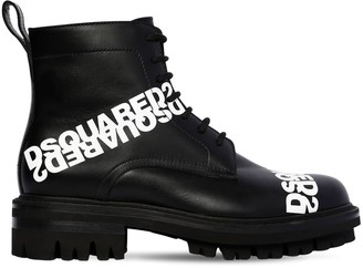 DSQUARED2 50MM LACE-UP LEATHER ANKLE BOOTS