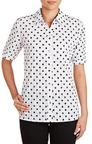 Allison Daley Roll-Tab Sleeve Crinkle Burnout Dot Print Button-Front Shirt