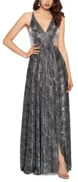 Betsy & Adam Metallic Python-Print Ball Gown