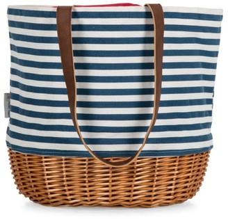 Picnic Time Coronado Stripe Canvas & Willow Basket Tote