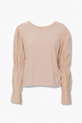 Forever 21 Long Pleated-Sleeve Top