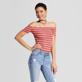 Mossimo Women's Off the Shoulder Rib T-Shirt Rose Stripe
