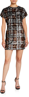 Aidan Mattox Plaid Sequin Cap-Sleeve Shift Dress