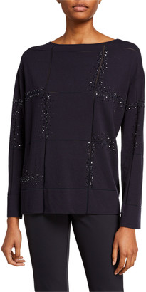 Lafayette 148 New York Bateau-Neck Embellished Matte Crepe Sweater