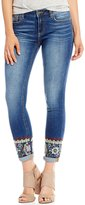 Miss Me Embroidered-Roll-Cuff Ankle Skinny Jeans