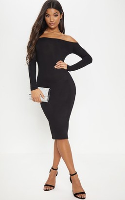 Bardot Fash Basic Black Jersey Midi Dress