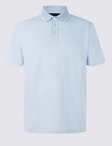 M&S Collection Big & Tall Cotton Rich Textured Polo Shirt