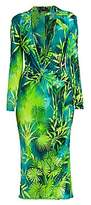 Versace Women's Jungle-Print Deep V-Neck Midi Dress
