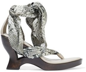 Zimmermann Scarf Tie Floral-print Satin-twill And Leather Wedge Sandals