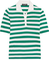 Dolce & Gabbana Striped Cashmere And Silk-blend Polo Shirt - Green