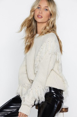Nasty Gal Womens Tassel At Hand Lace-Up Sweater - Ecru