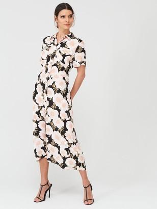 Warehouse Gardnia Floral Print Midi Shirt Dress