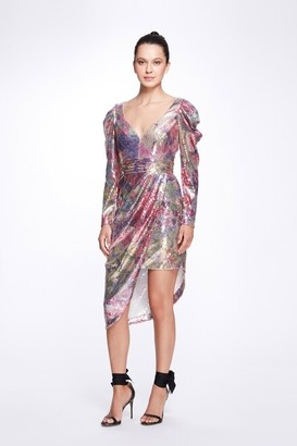 Marchesa Notte Draped Sleeve V-Neck Printed Sequin Cocktail Dress
