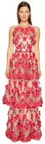 Marchesa 3D Embroidered Gown w/ Sleeveless Bodica and Two Tiered Skirt Women's Dress