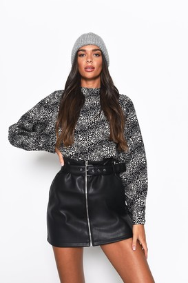 Glamorous Womens **Leopard Print Mix High Neck Blouse By Multi