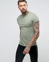 Asos T-Shirt With Crew Neck And Roll Sleeve In Green