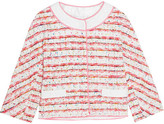 Moschino Lace And Grosgrain-trimmed Bouclé-tweed Jacket - Pink