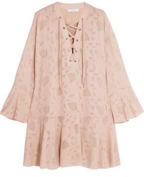 IRO Lace-up Fil Coupe Chiffon Mini Dress