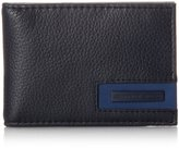 Geoffrey Beene Men's Ft Pocket Wallet In Milled Leather with Plaque Logo