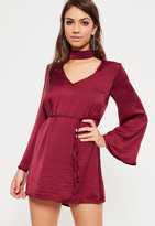 Missguided Petite Exclusive Burgundy Hammered Satin Choker Neck Dress