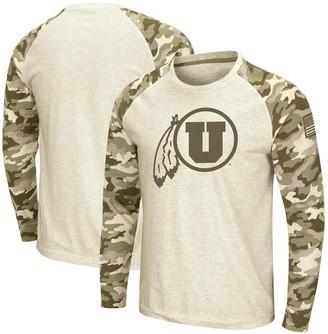 Colosseum Men's Oatmeal Utah Utes OHT Military Appreciation Desert Camo Raglan Long Sleeve T-Shirt