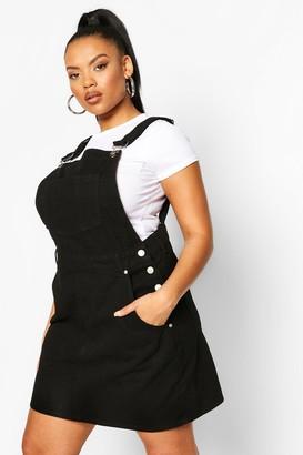 boohoo Plus Denim Dungaree Frayed Hem Dress