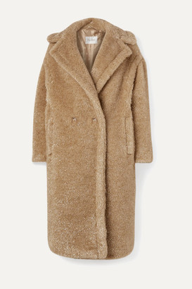 Max Mara Teddy Icon Metallic Faux Fur Coat - Beige