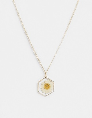 ASOS DESIGN necklace with trapped daisy pendant in gold tone