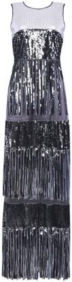 True Decadence Gunmetal Sequin Fringed Maxi Dress