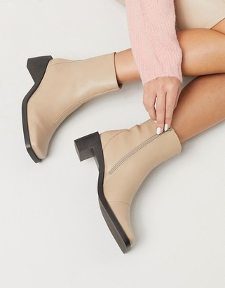 Truffle Collection faux leather square toe mid heel ankle boots in beige