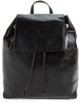 Sole Society Slouchy Faux Leather Backpack - Black